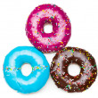 Three color donuts, isolated on white — Stock Photo