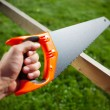 Cutting plank with hand saw — Stock Photo