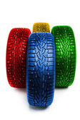 Multicolor winter tires — Stock Photo