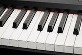 Grand piano ebony and ivory keys — Stock Photo
