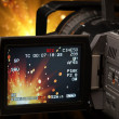 Screen of camcorder capturing firework — Stock Photo #38028773