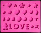 Saint Valentines pink icons — Stock Photo