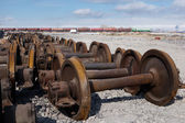 Train wheels for recycling — Stock Photo