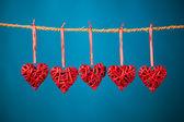 Decorative valentine hearts — Stock Photo