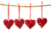 Decorative valentine hearts on the rope — Stock Photo