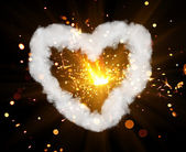 Sparkler with heart shaped smoke ring — Stock Photo