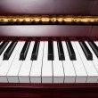 Ebony and ivory keys of red piano — Stock Photo #41623583