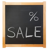 Empty percent sale title written with a chalk on the blackboard — Foto Stock