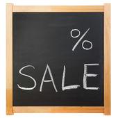 Empty percent sale title written with a chalk on the blackboard — Stock Photo