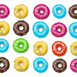 Tasty colorful donuts background, isolated on white — Stock Photo #45082461