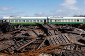 Train at the metal scrap yard — Stock Photo