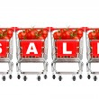 Sale concept - shopping carts with tomatoes — Stock Photo #49328879