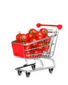 Healthy shopping concept - shopping cart with tomatoes, isolated on white — Stock fotografie