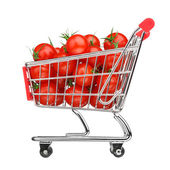 Healthy shopping concept - shopping cart with tomatoes, isolated on white — Stock Photo