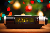 Led display of alarm clock with 2015 new year — Stock Photo