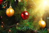 Christmas tree decoration with shiny glare — Stock Photo