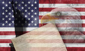 American flag and patriotic symbols — Stock Photo