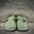Green shoes for baby — Stock Photo