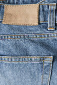 Jeans with empty leather label — Stockfoto