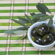 Olives in a china spoon — Stock Photo