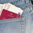 Passport and money in the pocket — Stock Photo