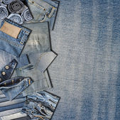 Collage about jeans with a copy space — Stock Photo