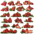 Great set of photographs of strawberries — Stock Photo
