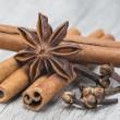 Постер, плакат: Cinnamon with anise and clove over wood