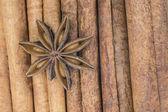 Star anise over cinnamon sticks — Stock Photo
