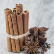 Cinnamon with anise and clove over wood — Stock Photo #30971417