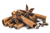 Cinnamon with star anise and clove — Stock Photo
