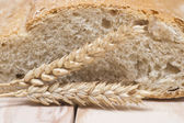 Bread and wheat ears — Foto Stock