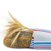 Pan cubierto con un paño de cocina — Foto de Stock