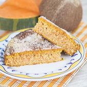 Homemade cake made of coconut and pumpkin — Stock Photo