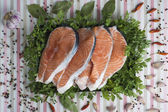 Sliced fresh salmon — Stock Photo