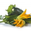 Zucchini with leaves and flowers — Stock Photo #50177937