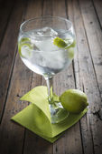 Gin and tonic garnished with lime — Stock Photo