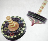 Wooden spinning top — Stock Photo