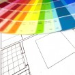 Color swatch and plans — Stock Photo #43141699