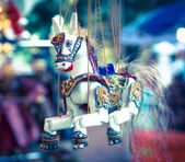 Toy wooden puppet horse — Stock Photo