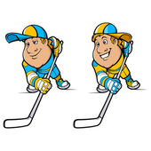 Cartoon Hockey Players Set — ストックベクタ