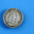 Old european coins,1664 Louis XIV,France — Stock Photo