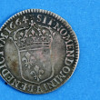 Old european coins,1664 Louis XIV,France - Stock Photo