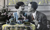 Vintage post cards,romance — Stock Photo