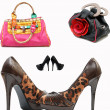 Stock Photo: Fashionable female shoes and bags