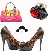 Fashionable female shoes and bags — Stock Photo