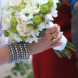 Bride holding wedding bouquet , Marriage — Stock Photo