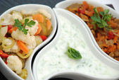 Salad pickeld with tzaziki — Stock Photo