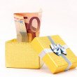 Stock Photo: Euro in gift box