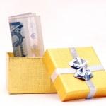 Euro in gift box — Stock Photo